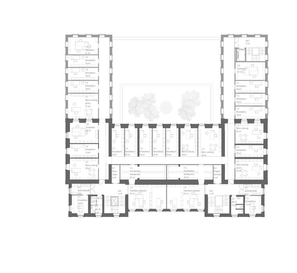 Zwei Flanken: 1. OG / «LIBRA» © ARGE Stähelin Partner Architekten, Basel & Schwob Sutter Architekten, Liestal