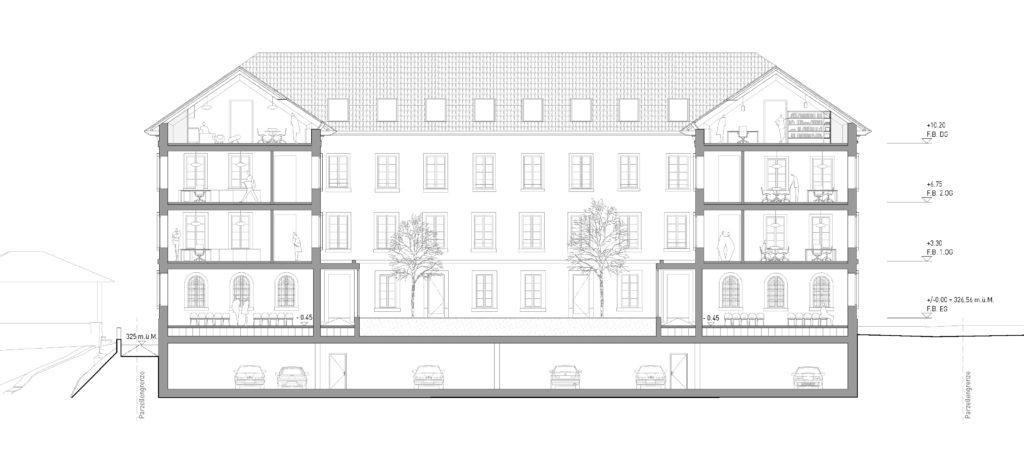 Querschnitt Innenhof / «LIBRA» © ARGE Stähelin Partner Architekten, Basel & Schwob Sutter Architekten, Liestal