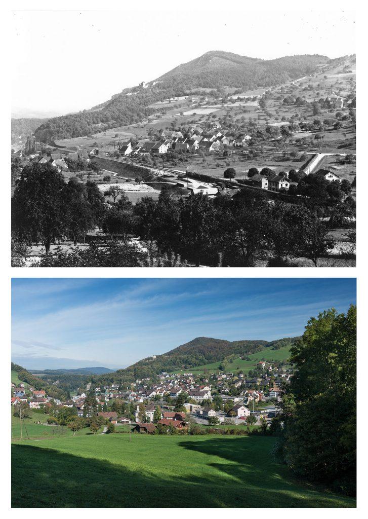 Läufelfingen mit Bahndamm 1895 (oben, Archiv Heinz Spinnler) und heute (unten, © Andreas Zimmermann)