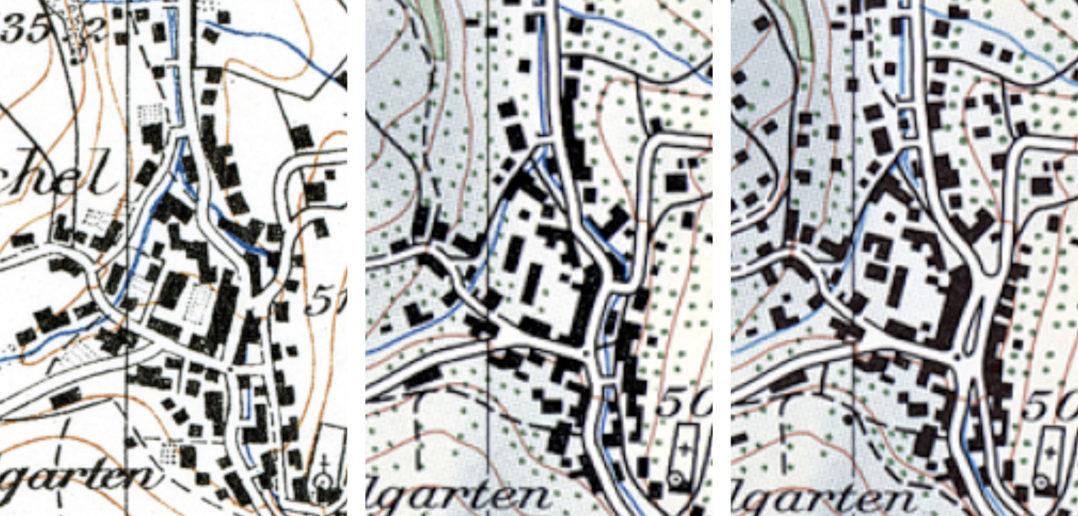 Dorfplatz 1954, 1955, 1966 (v.l.n.r.), Landeskarten, Bundesamt für Landestopografie swisstopo