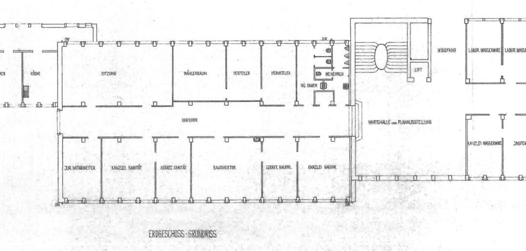 Grundriss Nr.31 (1952), der rechte Teil mit Treppenhaus ist dreigeschossig, der linke Teil nur eingeschossig