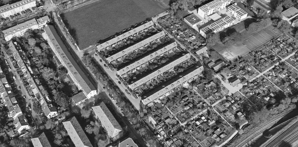 """Luftbild der Siedlung """"Drei Linden"""" (1944) von Mumenthaler & Meier © Google Maps"""