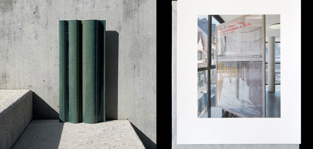 Geschenke an das S AM: Fassadenmuster, Bachelard Wagner Architekten (links), Fotografie des Ausstellungsplakates von Cristo im Domus Haus, Roger Diener (rechts) © S AM
