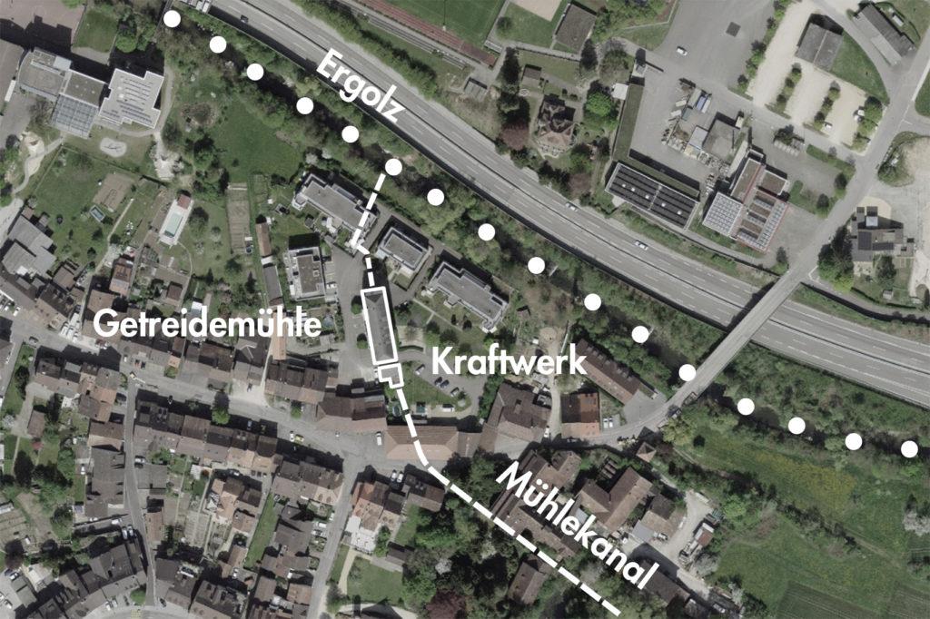 Papier- und Getreidemühle, Lausen (bearbeitet), Grundlagen Luftbild © Bundesamt für Landestopografie swisstopo