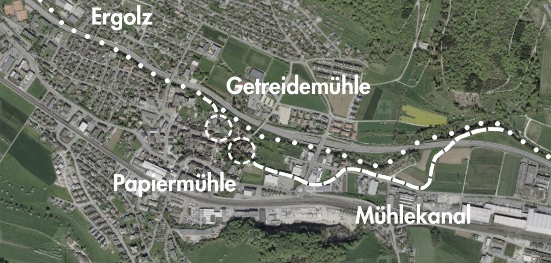 Gewerbekanal, Lausen (bearbeitet), Grundlagen Luftbild © Bundesamt für Landestopografie swisstopo