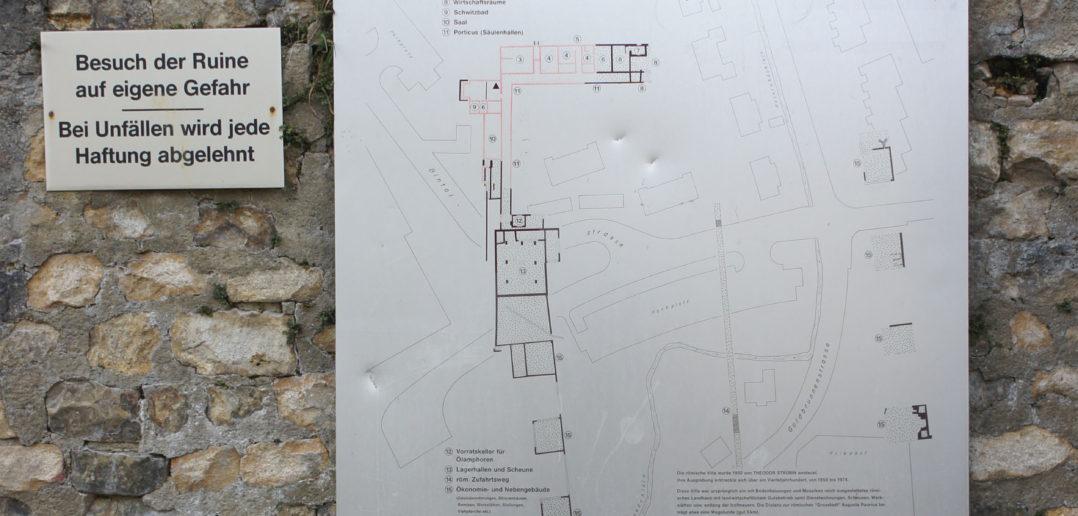 Informationstafel Archäologie Baselland, Römische Villa Munzach, Liestal