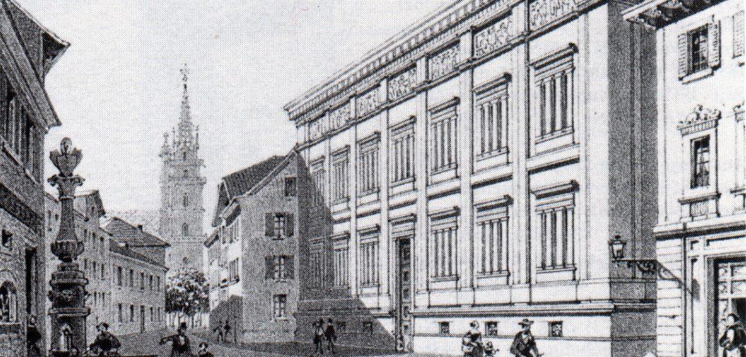 """""""Le nouveau Musée (à Basle)"""" - Lithographie von L. Graf um 1854"""