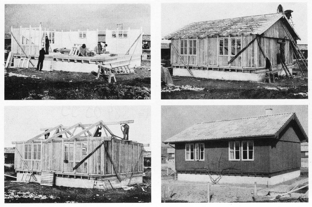 """Montage eines NILBO-Hauses aus der Publikation der Nielsen-Bohny & Cie. AG: """"Wohnbauten aus Holz nach dem Montage System NILBO"""", Basl, 1944"""