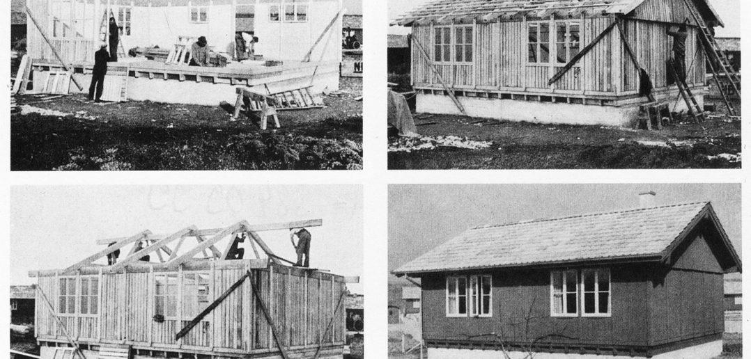 """Montage eines NILBO-Hauses aus der Publikation der Nielsen-Bohny & Cie. AG: """"Wohnbauten aus Holz nach dem Montage System NILBO"""", Basel, 1944"""