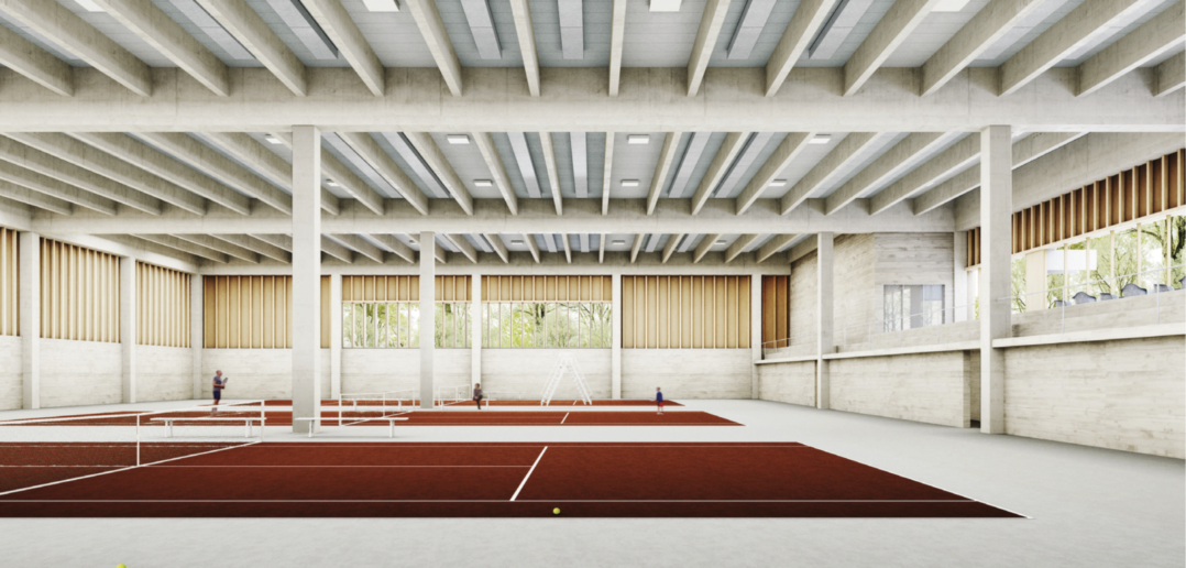 Neue Tennishalle des TC Old Boys © Stich & Oswald