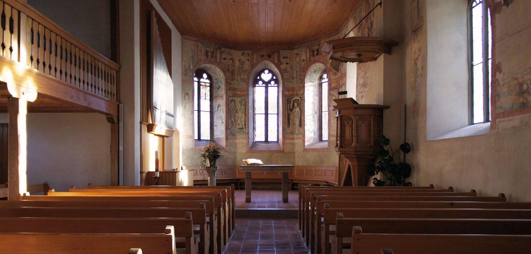 Innenraum der Kirche, Oltingen © Architektur Basel
