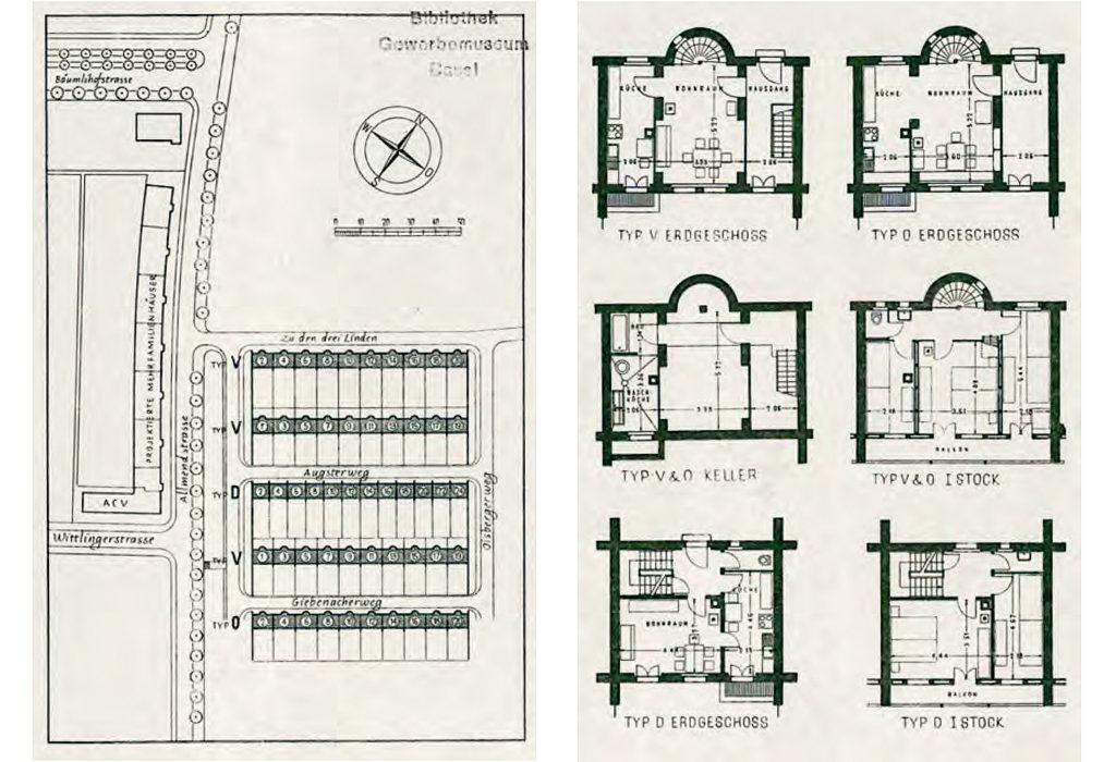 """Pläne der Siedlung """"Drei Linden"""" (1944) von Mumenthaler & Meier © Gewerbemuseum Basel"""