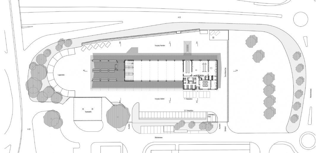 Erdgeschoss mit Umgebung Werkhof Sissach © VOSS Architects Ebeling Architekten