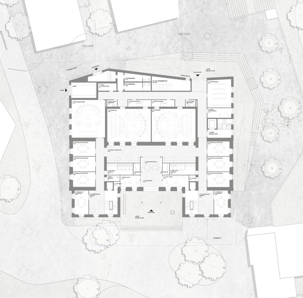 Erdgeschoss mit abgeschrägter Nordfassade / «QUATTRO» © Demuth Hagenmüller & Lamprecht Architekten GmbH, Zürich