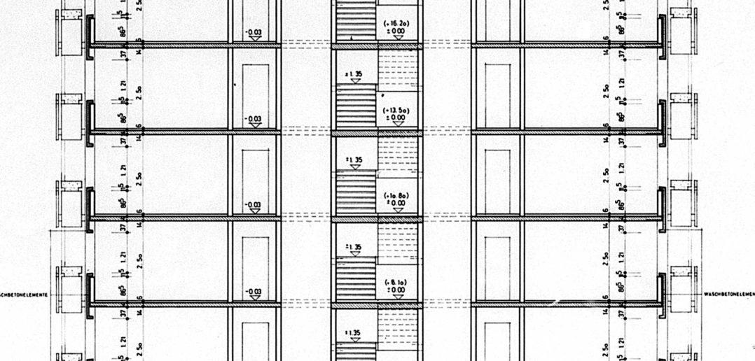 Querschnitt, Hochhäuser Schorenareal von Burckhardt+Partner