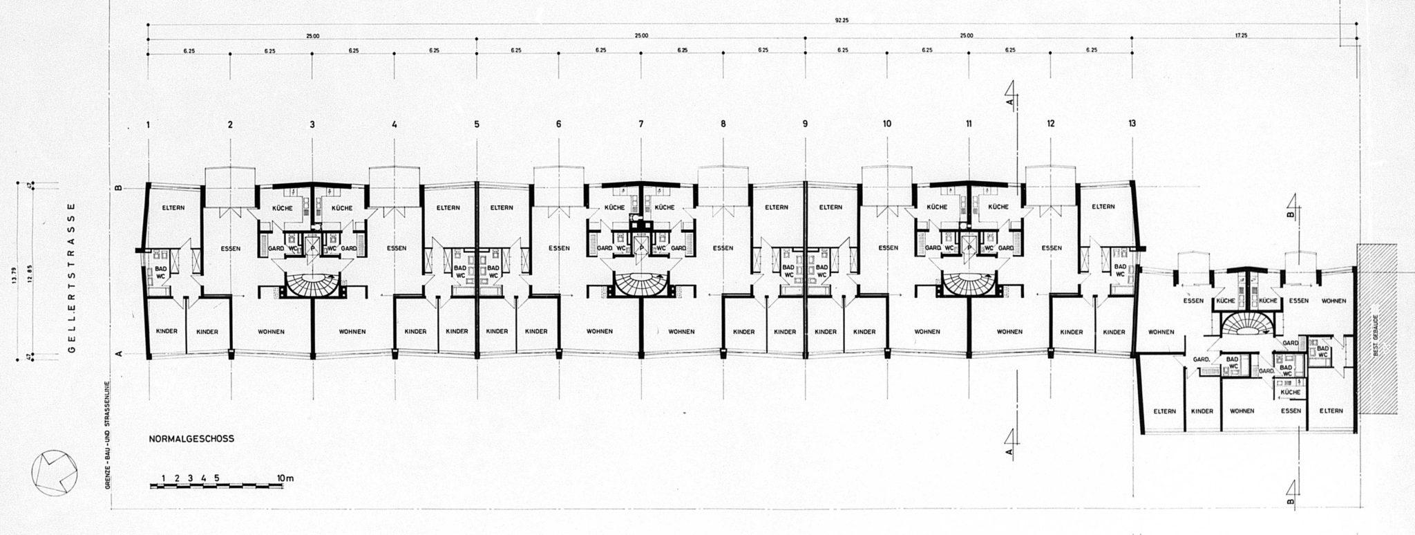 Regelgeschoss Wohnhaus Lindenstrasse von Burckhardt+Partner © Architektur Basel