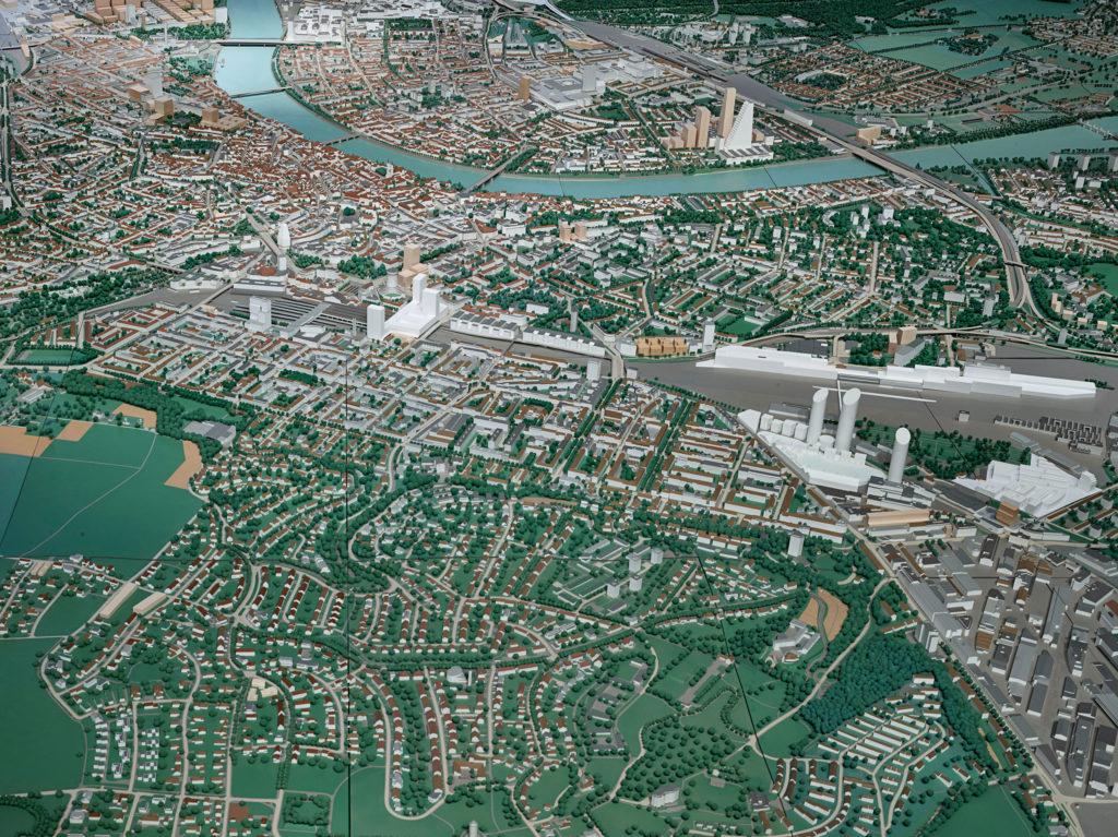 Forum Städtebau ‹Basel 2050› 11.9.-27.9.2020 Stadtmodell Basel © Bau- und Verkehrsdepartement des Kantons Basel-Stadt. Foto: Tom Bisig