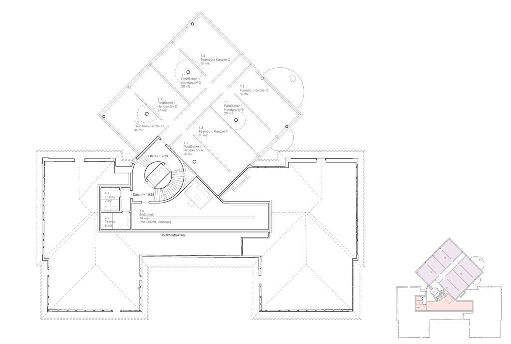 Grundriss OG3 Büros (+9.39m) © Notaton