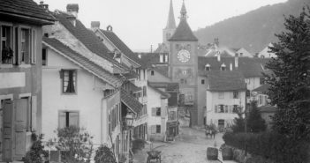 Blick von der Burgstrasse in Richtung Obertor, Liestal 1887, STABL_PA_6292_01.278, Fotosammlung Seiler Arnold und Junior, Liestal, Staatsarchiv Basel-Landschaft