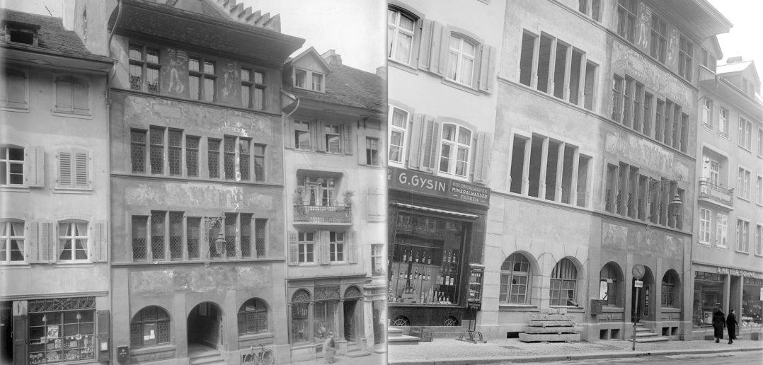 links: vor dem Umbau um 1929, rechts: Rohbau noch unbemalt um 1939, Liestal STABL_PA_6412_02_01_203, Fotoarchiv der Firma Lüdin AG, Liestal (links), STABL_PA_6292_01.412, Fotosammlung Seiler Arnold, Liestal (rechts), Staatsarchiv Basel-Landschaft