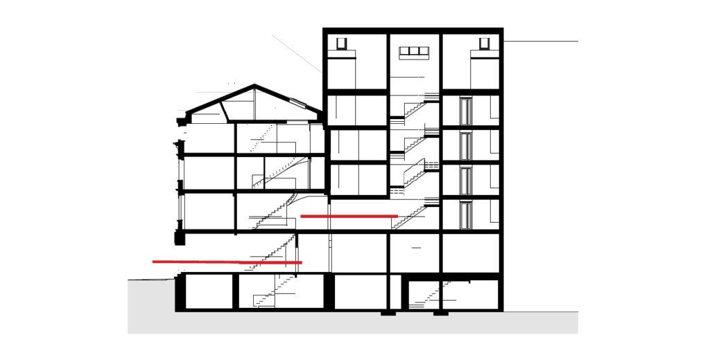 Die Wegführung (rote Linie) im Schnitt © Architekturbüro Vera Gloor