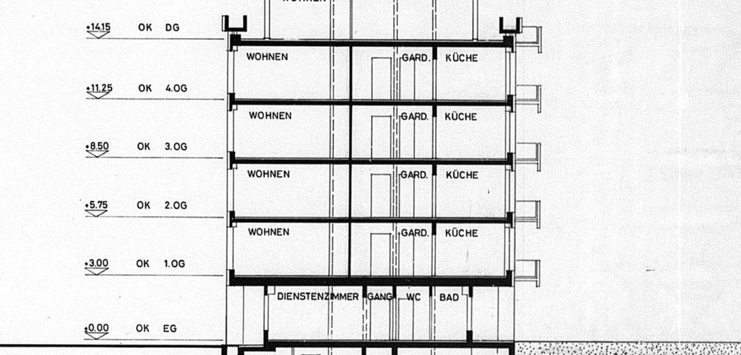 Schnitt Wohnhaus Lindenstrasse von Burckhardt+Partner © Architektur Basel