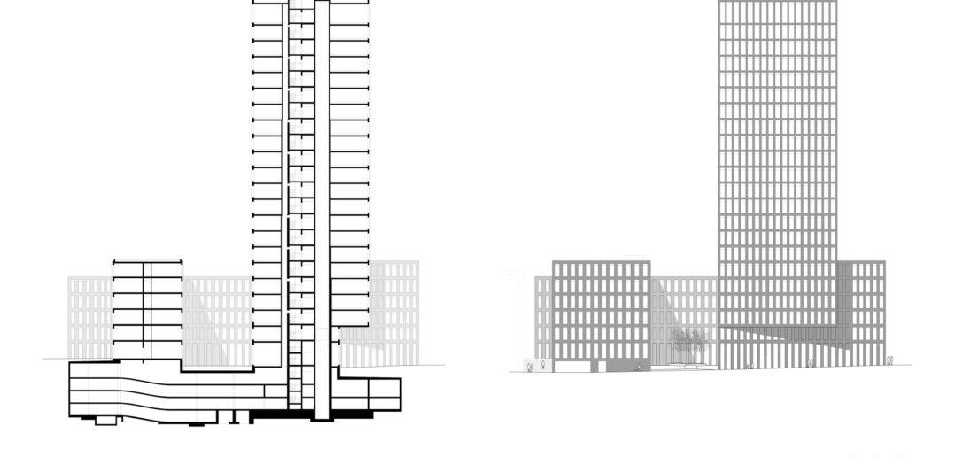 Fassade / Schnitt Grosspeter Tower © Burckhardt+Partner AG