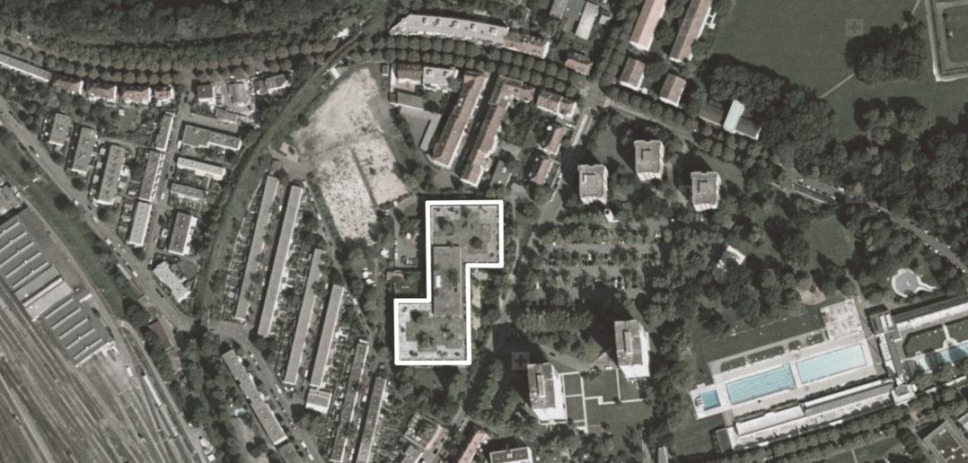 Ehemaliges Bürohaus Schoren, 2008 (bearbeitet), Grundlagen Luftbild © Bundesamt für Landestopografie swisstopo