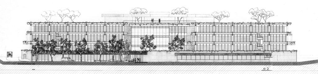 Westfassade, Plan: Burckhardt+Partner AG Architekten Generalplaner