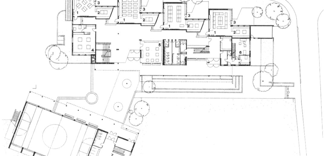 Grundriss EG Schulhaus Bützenen, Sissach. Quelle: Das Werk 8/1971, S.535