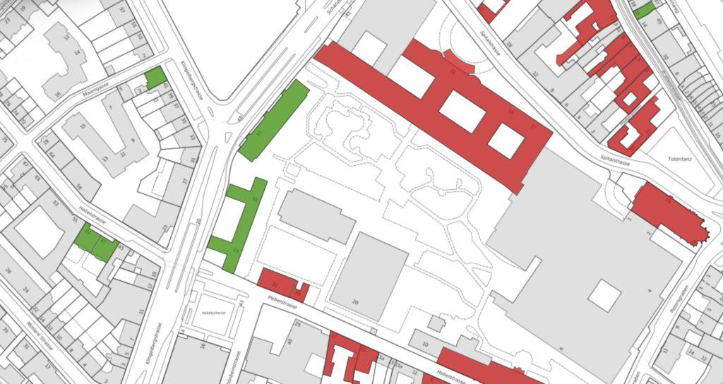 Die Bauten im Inventar (grün) und unter Denkmalschutz (rot) auf dem Areal des Unispitals © Maps BS