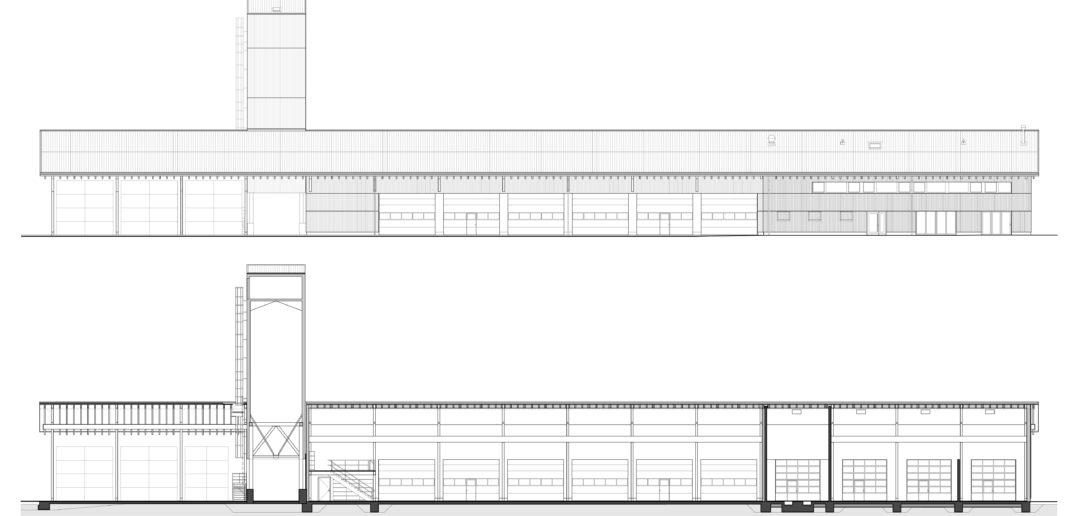 Längsschnitt und -fassade Werkhof Sissach © VOSS Architects Ebeling Architekten