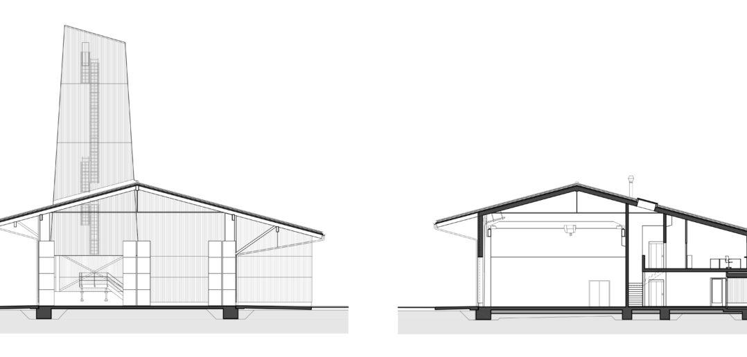 Querschnitte Werkhof Sissach © VOSS Architects Ebeling Architekten