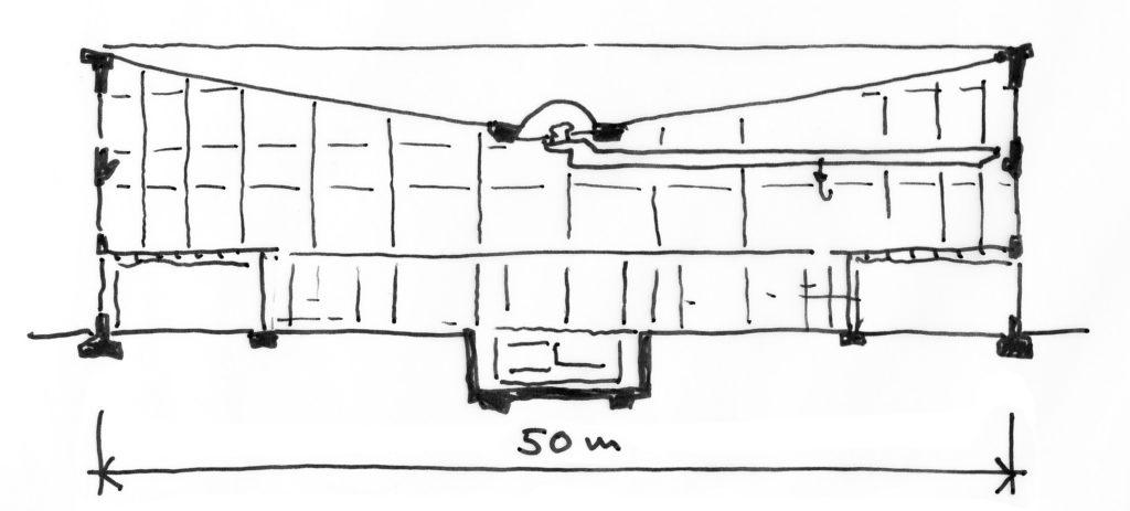 Querschnitt durch das Pantheon, äusserer und innerer Ring mit Kranbahn