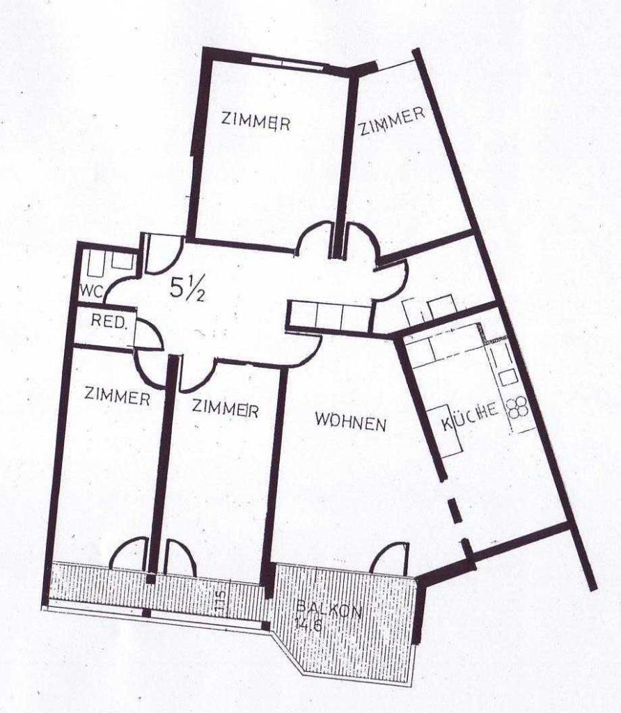 Grundriss 5.5-Zimmer-Wohnung Überbauung Rhypark im St. Johann © Wohnbau-Genossenschaft Nordwest WGN