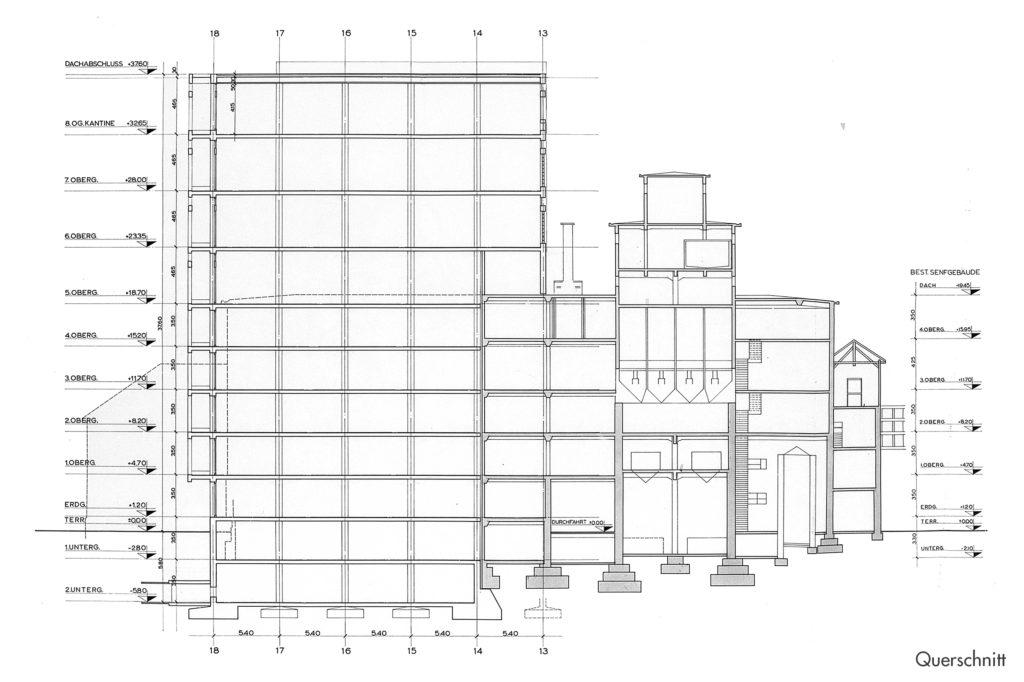 Fabrikations- und Lagergebäude Thomi + Franck Basel, Querschnitt © Burckhardt+Partner