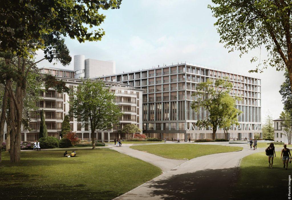 Christ & Gantenbein, Erweiterung Universitätsspital Zürich, Blick vom Park, Visualisierung © Ponnie Images