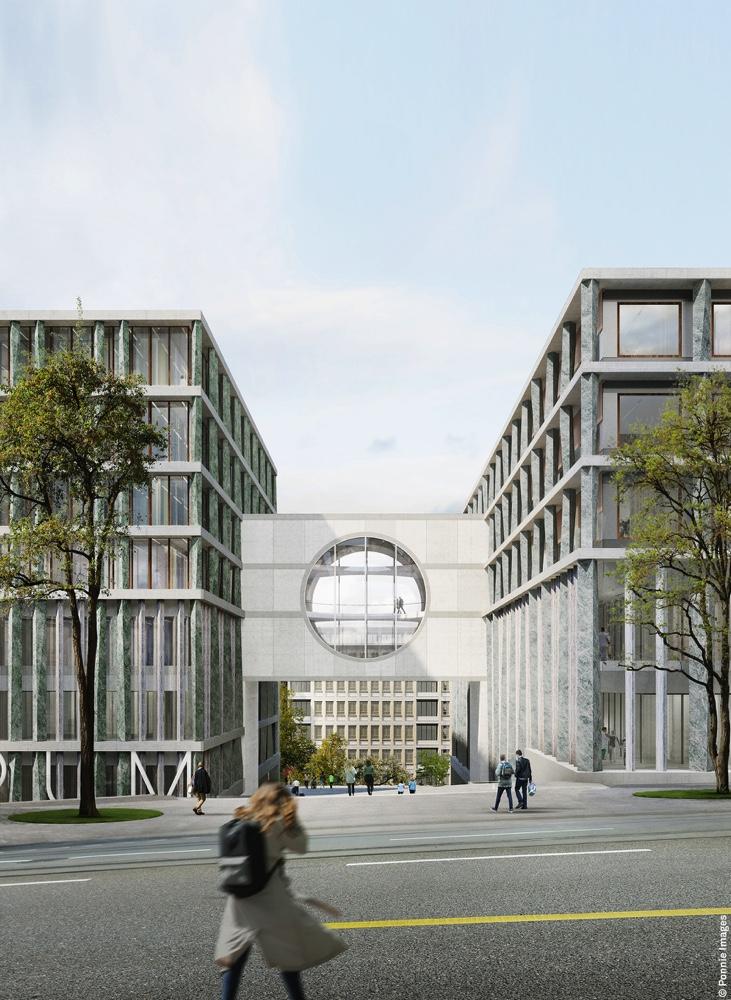 Christ & Gantenbein, Erweiterung Universitätsspital Zürich, Durchwegung, Visualisierung © Ponnie Images