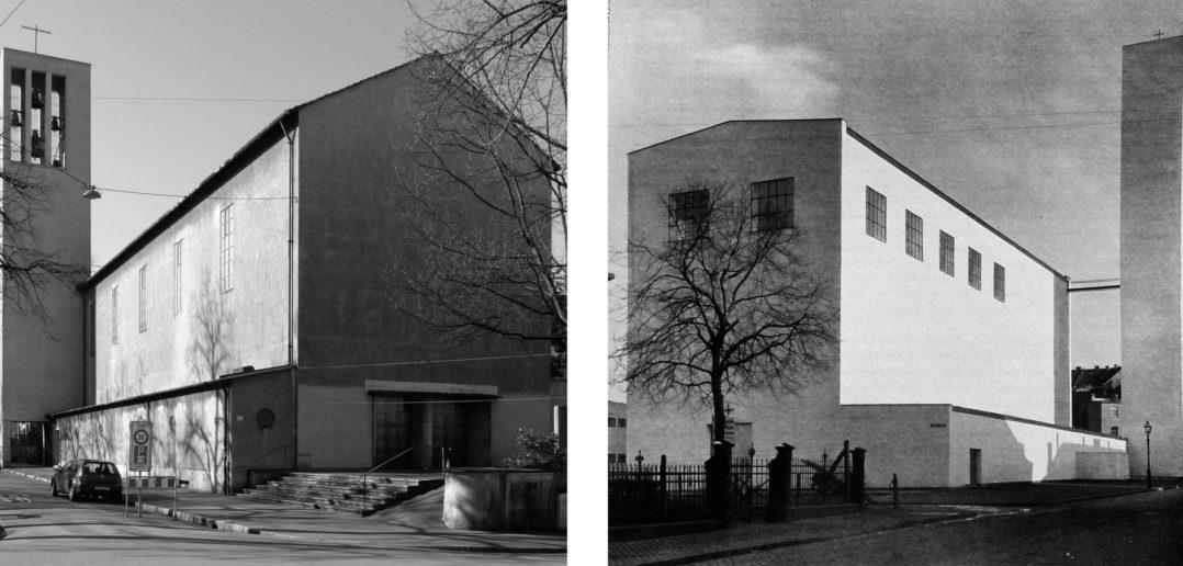 Links: Kirche Don Bosco in Basel / Rechts: Fronleichnamskirche in Aachen