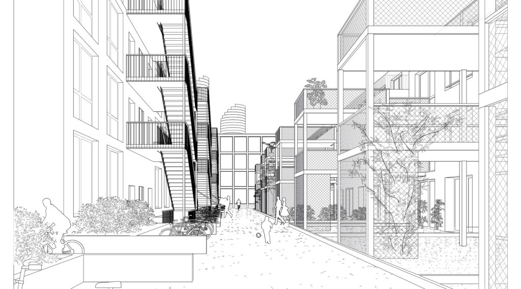 Visualisierung Wohngasse © Camponovo Baumgratner Architekten