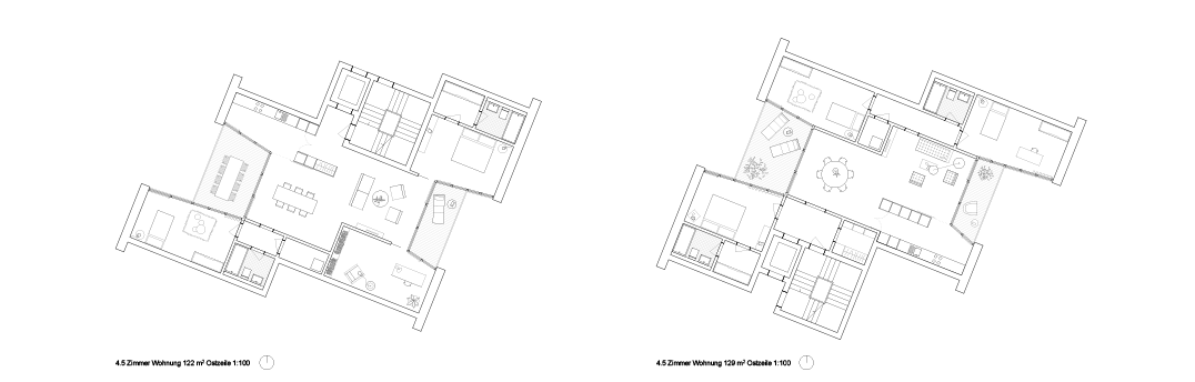 Wohnungsgrundrisse Wohnen Studio Basel Bruderholz © Morger Partner