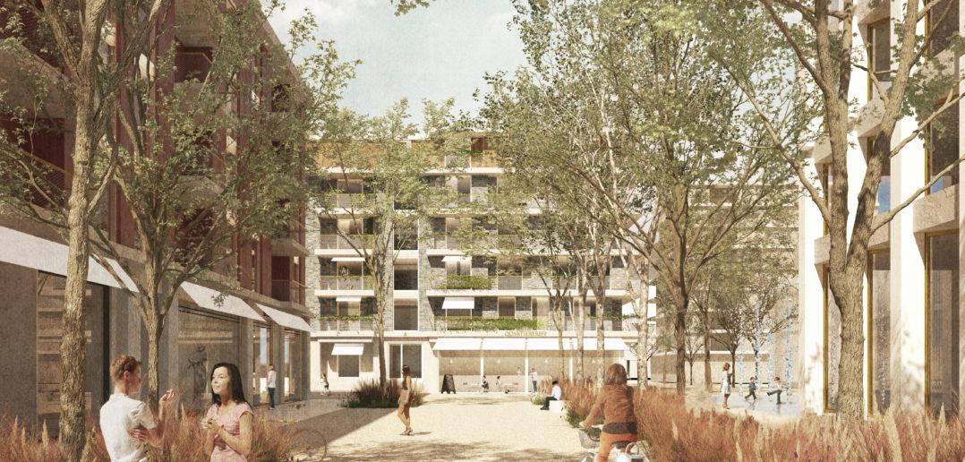 Zwei grüne Fussgänger- und Veloachsen bieten den Bewohnern eine angenehme Anbindung an den Bahnhof und das angrenzende Einkaufsgebiet «Grüssen». Bredella AG (Visualisierung: Burckhardt+Partner AG)