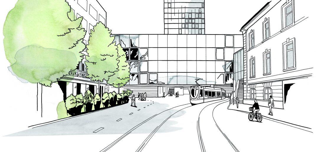 Nauentor: Illustration von der Centralbahnstrasse